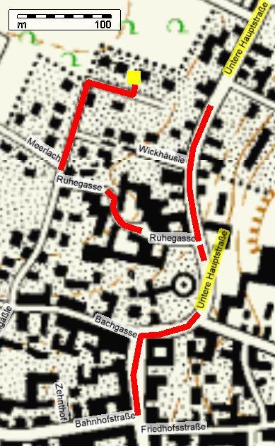 Straßenplan zur Anreise zur Praxis Hertenstein in Kippenheim, Wickhäusle 17